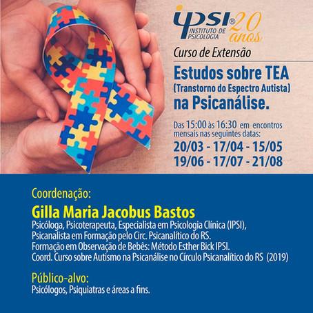 Curso de Extensão   Estudos sobre TEA (Transtorno do Espectro Autista) na Psicanálise.