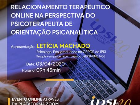 Evento Científico | Relacionamento Terapêutico online na Perspectiva do Psicoterapeuta
