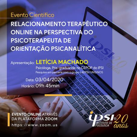 Evento Científico   Relacionamento Terapêutico online na Perspectiva do Psicoterapeuta
