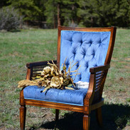 Vintage Blue Tufted Cane Chairs
