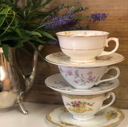 Mismatched Vintage China Tea Cups and Saucers