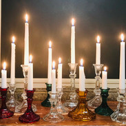 Clear and Colored Glass Candlesticks.