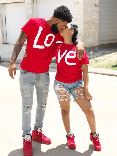 His- And- Hers Couple Matching LOVE T-Shirts