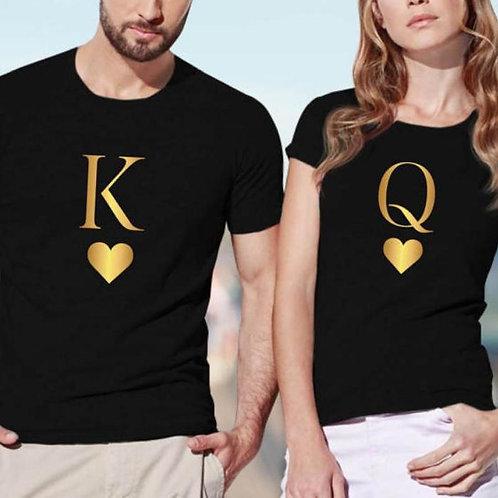 King Queen Letter Heart Print Couple T Shirt