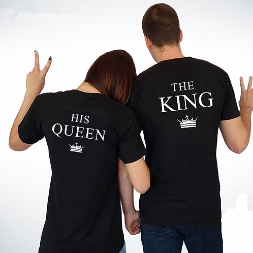 King Queen Couples T Shirt Crown Printing Lovers T-Shirt