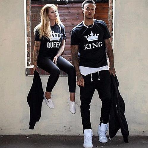 KING QUEEN Letter Printed Black Tshirt