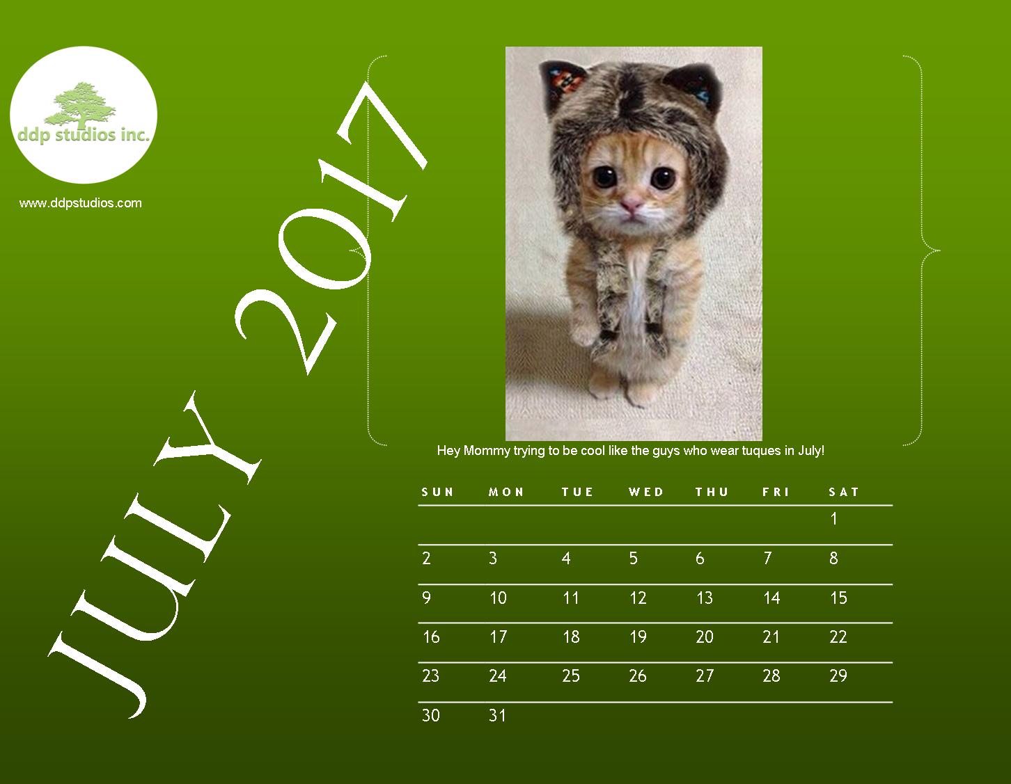 Pussy Calendar July 2017 Inside