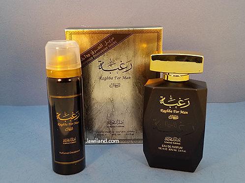 Raghba Edp Black For Men 100 ml With Deodorant  By Lattafa Perfumes  $37