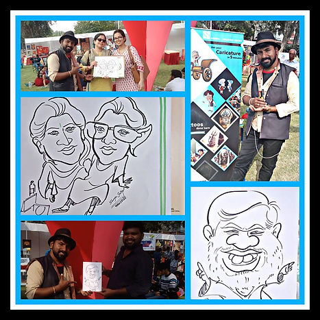 Mr. Sanjeev Sangme is one of the most famous caricature artists in Bangalore anyone can hire him for birthday parties, wedding parties, corporate events, naming ceremony parties, engagement parties, cocktail parties, etc caricature artist for all tip of event and party.