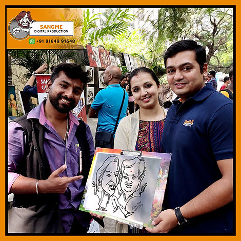 Mr. Sanjeev Sangme is one of the most famous caricature artists in Bangalore anyone can hire him for birthday parties, wedding parties, corporate events, naming ceremony parties, engagement parties, cocktail parties, etc caricature artist for all tip of event and party. | live caricature drawing for events_04.jp