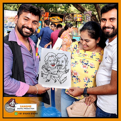 Mr. Sanjeev Sangme is one of the most famous caricature artists in Bangalore anyone can hire him for birthday parties, wedding parties, corporate events, naming ceremony parties, engagement parties, cocktail parties, etc caricature artist for all tip of event and party. | live caricature drawing for events_10.jp