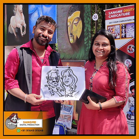 Mr. Sanjeev Sangme is one of the most famous caricature artists in Bangalore anyone can hire him for birthday parties, wedding parties, corporate events, naming ceremony parties, engagement parties, cocktail parties, etc caricature artist for all tip of event and party. | live caricature drawing for events_13.jp