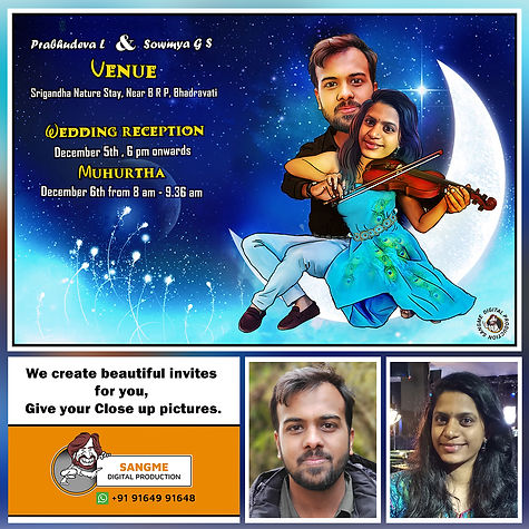 Indian wedding invitation _ caricature w