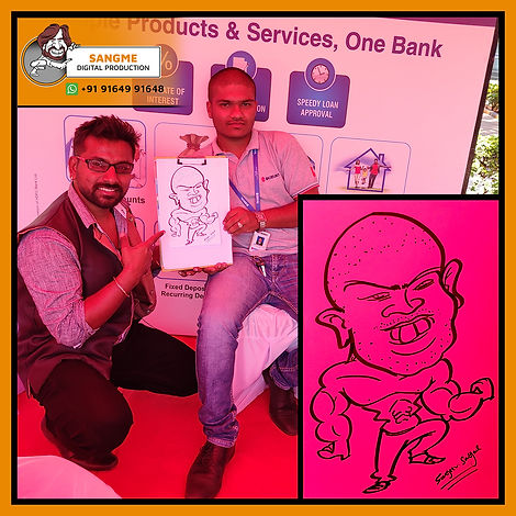 Mr. Sanjeev Sangme is one of the most famous caricature artists in Bangalore anyone can hire him for birthday parties, wedding parties, corporate events, naming ceremony parties, engagement parties, cocktail parties, etc caricature artist for all tip of event and party. | live caricature drawing for events_08.jp