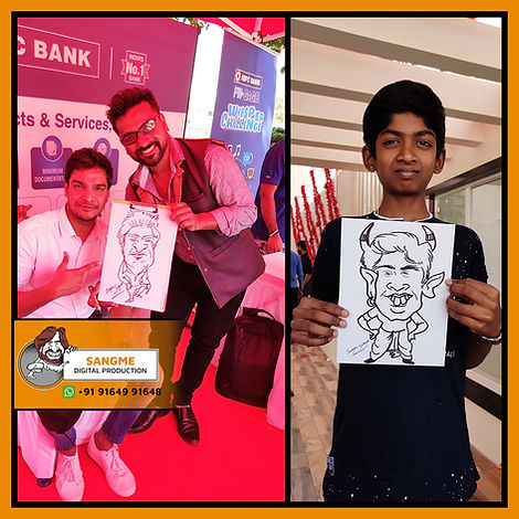 Mr. Sanjeev Sangme is one of the most famous caricature artists in Bangalore anyone can hire him for birthday parties, wedding parties, corporate events, naming ceremony parties, engagement parties, cocktail parties, etc caricature artist for all tip of event and party. | live caricature drawing for events_02.jp