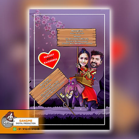 Couple sitting on Elephant | Caricature style wedding invitation | Indian wedding invitation cards|wedding invitation_A_00011.jpg