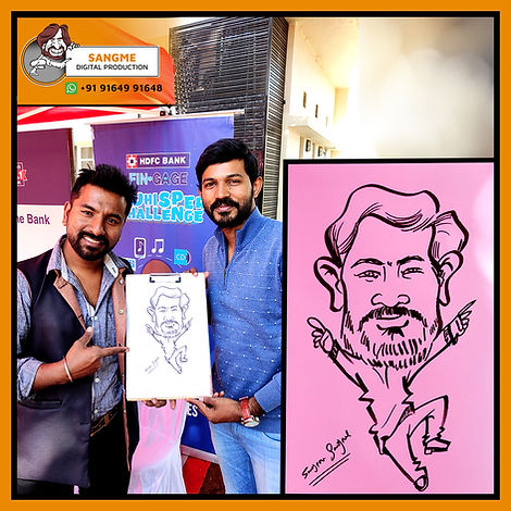 Mr. Sanjeev Sangme is one of the most famous caricature artists in Bangalore anyone can hire him for birthday parties, wedding parties, corporate events, naming ceremony parties, engagement parties, cocktail parties, etc caricature artist for all tip of event and party. | live caricature drawing for events_06.jp