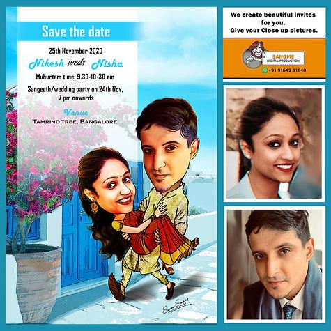 Indian wedding invitation _ caricature w