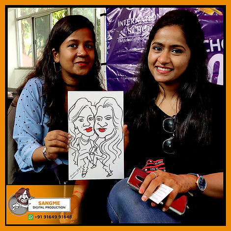 Mr. Sanjeev Sangme is one of the most famous caricature artists in Bangalore anyone can hire him for birthday parties, wedding parties, corporate events, naming ceremony parties, engagement parties, cocktail parties, etc caricature artist for all tip of event and party. | live caricature drawing for events_16.jp