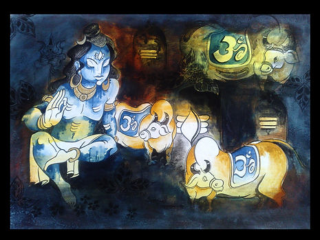 good shiva and nandi copy wall painting