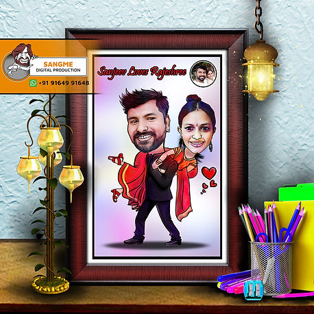 Personalised Caricature | Gifts Online Personalised Caricature | Cute Personalized Caricature for Couples | Personalised Couple Caricature Art | Best Couple caricature