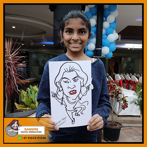 Mr. Sanjeev Sangme is one of the most famous caricature artists in Bangalore anyone can hire him for birthday parties, wedding parties, corporate events, naming ceremony parties, engagement parties, cocktail parties, etc caricature artist for all tip of event and party. | live caricature drawing for events_17.jp