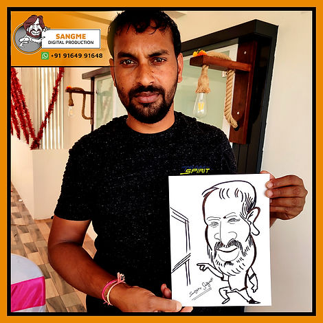 Mr. Sanjeev Sangme is one of the most famous caricature artists in Bangalore anyone can hire him for birthday parties, wedding parties, corporate events, naming ceremony parties, engagement parties, cocktail parties, etc caricature artist for all tip of event and party. | live caricature drawing for events_09.jp