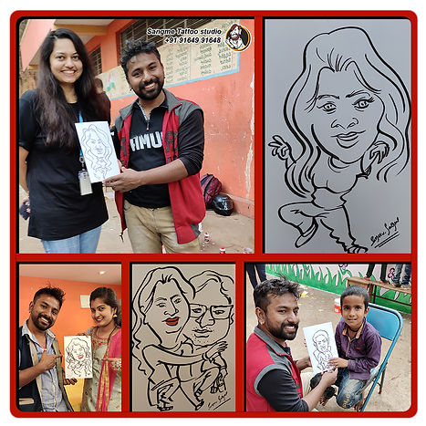 Mr. Sanjeev Sangme is one of the most famous caricature artists in Bangalore anyone can hire him for birthday parties, wedding parties, corporate events, naming ceremony parties, engagement parties, cocktail parties, etc caricature artist for all tip of event and party. |hand made caricature_03.jpg