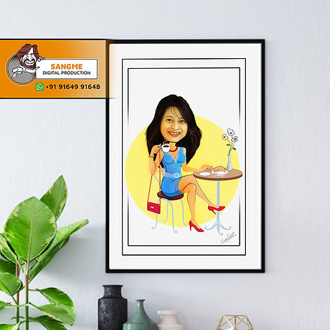 coffee drinking girl caricature  single caricature_29A.jpg