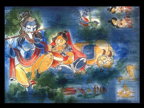 good krishana and radha wall painting ar