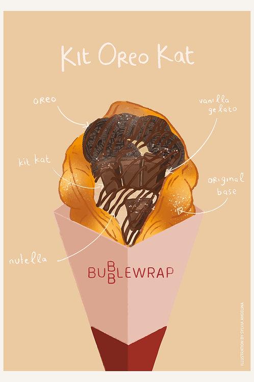 Bubblewrap Combo Illustrations Postcard - Kit Oreo Kat