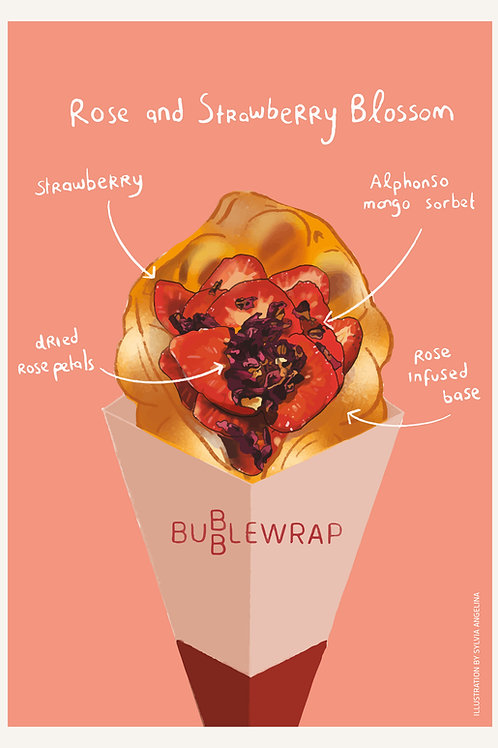 Bubblewrap Combo Illustrations Postcard - Rose & Strawberry