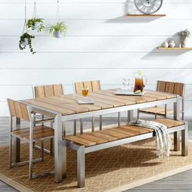 Wood & Steel Combination Dining set