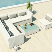 Outdoor Wicker Sofa - White Knight