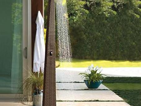 Outdoor Wicker Jacuzzi Shower Panel - Fluid