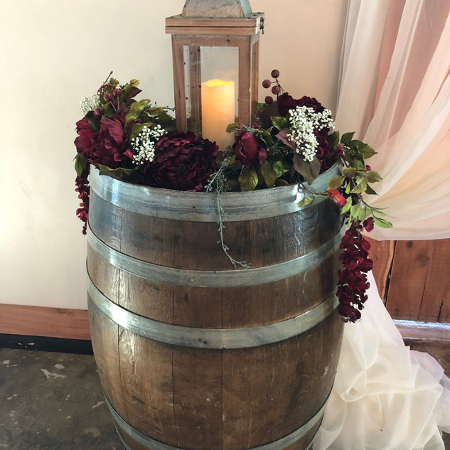 one of 12 wine barrels available for use indoors or out