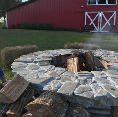 Fire pit with wood provided by venue