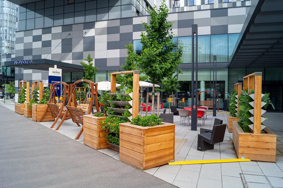 Hotel Vorplatz Garten Restaurant urban gardening vertical gardening urban farming