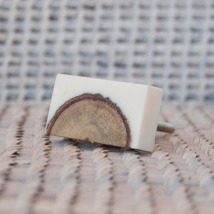Tirador corteza rectangular crema
