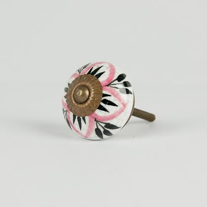 Tirador craquelado flores rosa y negro