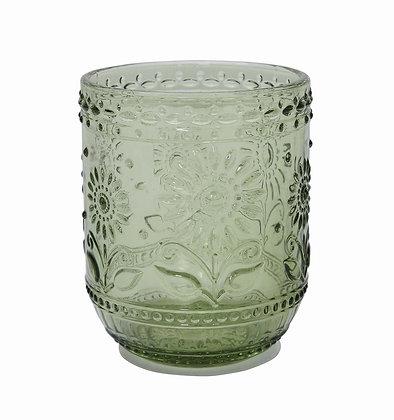 Vaso de vidrio labrado verde