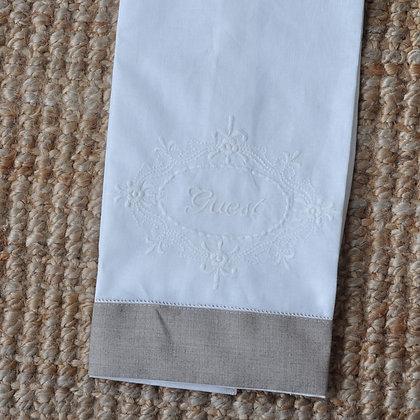 Toalla social lino-algodón Guest blanco-beige