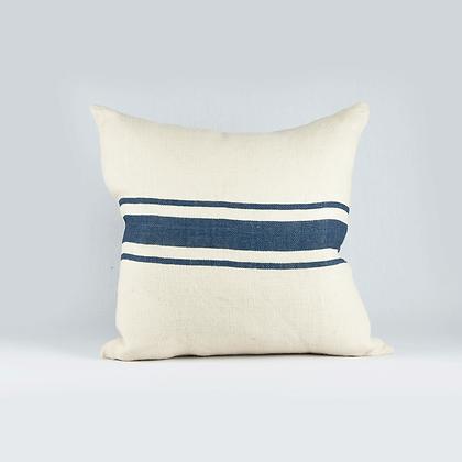 Almohadon cuadrado jute rayas azul marino