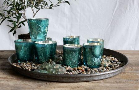 Fanal vidrio c/ vela colores