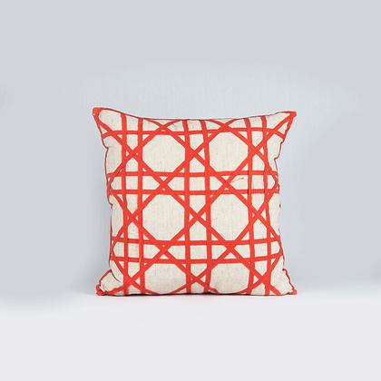 Almohadón geometrico lino tangerina