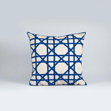 Almohadón geometrico lino azul