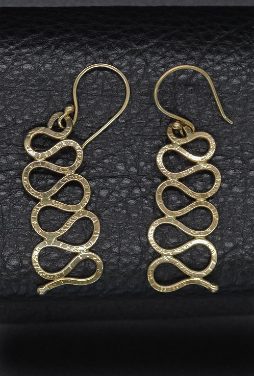 EARRINGS, 14K YELLOW GOLD, CONTINUOUS LINE MOTIF