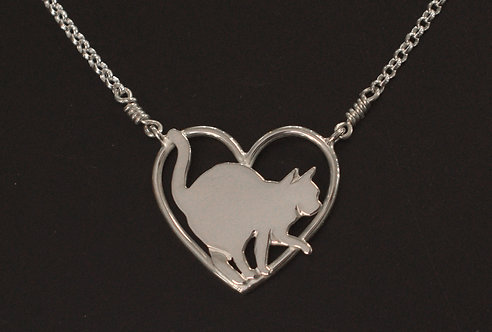 PETS - PENDANT, STERLING SILVER CAT ON HEART