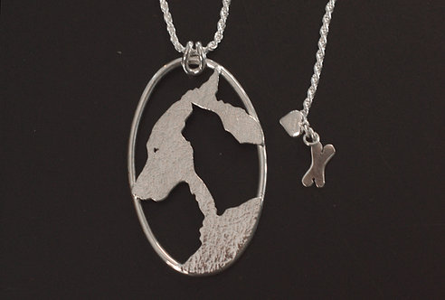PETS - PENDANT, STERLING SILVER CAT & DOG WITH BONE