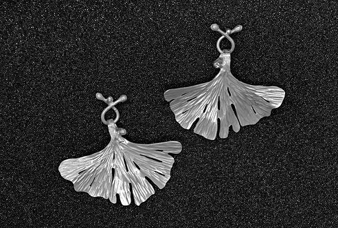 EARRINGS, STERLING SILVER GINKGO LEAF